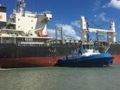 Tug pushing ship in Gizzy