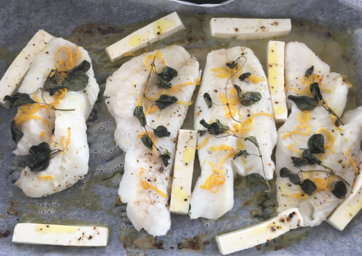 Cod with feta and lemon