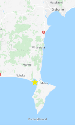 Gisborne to Mahia on google