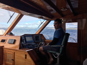 Stu on the helm