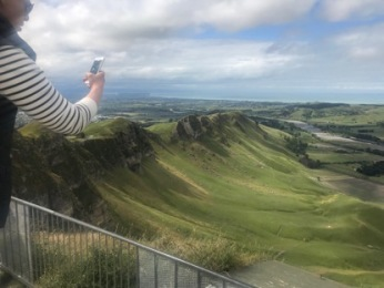 View from Te Mata Peak with L's arm