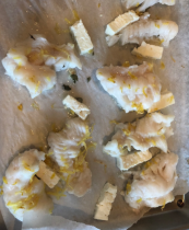 Cod with Lemon, Feta and Thyme