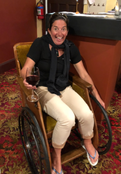 Jodi trying out the wheelchair