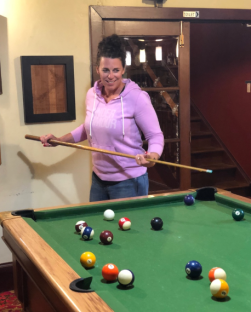 Leah on the pool table