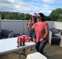 Tany and Jodi playing beer pong 2
