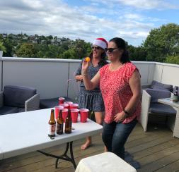 Tany and Jodi playing beer pong 2