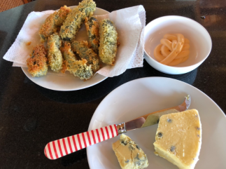 Crumbed Gherkins with sides