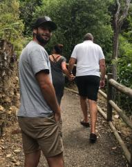 J, B and Sam on walk