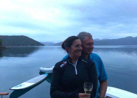 Jodi and B in Bulwer Bay at night