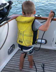 Conor tying up the dinghy